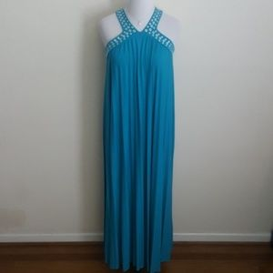 New Michael Kors Turquoise Pleated Maxi Dress